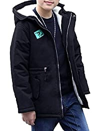 OMSLIFE Winterjacke Kinder Jungen Lange Winterjacke mit Kapuze Wintermantel Mantel Parka Outerwear Oberbekleidung