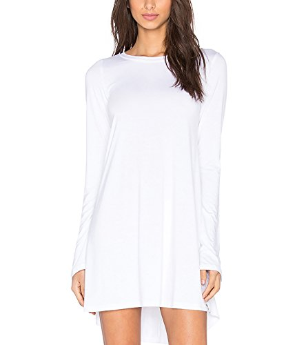 Oberteil Damen Blusen Tops T-Shirts Langarm Normallacks Rundkragen Lose Hemd Grundiert Shirts Weiß