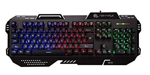 Night Hawk Nk101 FPS Gaming Keyboard With 3 Color Changeable LED & 19 Anti-Ghosting Keys (Metallic Series), Black