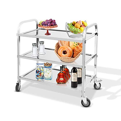 Ejoyous Küchenwagen Edelstahl Servierwagen im Platzsparenden Design, Schnell auf- und Abbaubarer Leifheit, Side-Car mit 3 Ebenen Silber