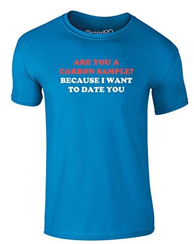 Brand88 - Carbon Dating, Erwachsene Gedrucktes T-Shirt Azurblau/Weiß