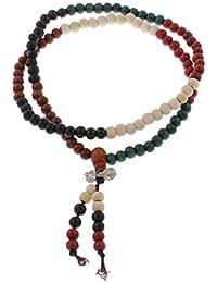 Buddha Holz Wickel Armband, Mala, 108 Perlen, 4 Stränge, bunt