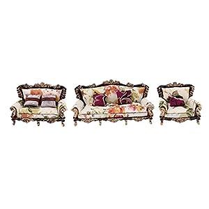 Baoblaze 1/25 Landhausstil Wohnzimmer Sofa Möbel Set für Puppenhaus Puppenstube - #B
