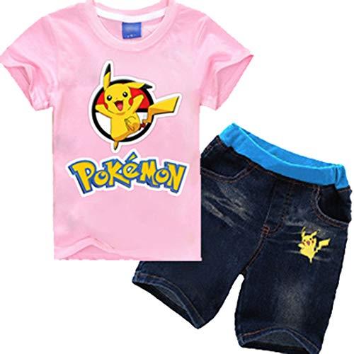 CTOOO-Vestido-De-Verano-Pikachu-Impresin-Nio-Camiseta-Manga-Corta-Pantalones-Cortos-De-Mezclilla-Set