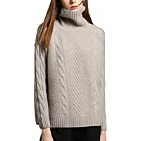 Haxibkena Suéter de Cuello Alto con Cachemir para Mujer, Manga Larga, suéter para niñas (Color : Light Grey, Size : L)