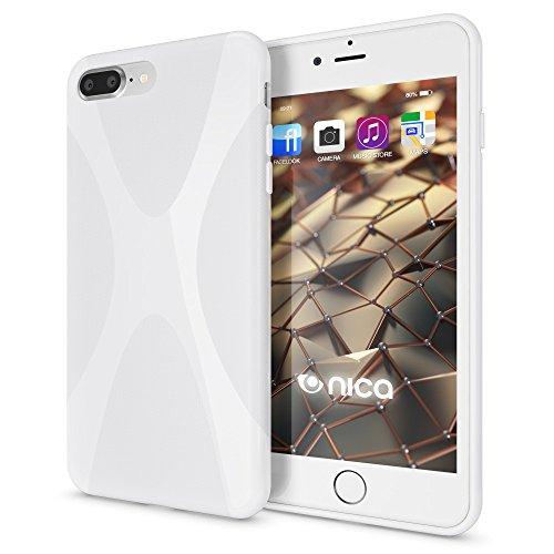 iPhone 8 Plus / 7 Plus Hülle Handyhülle von NICA, Ultra-Slim Silikon Case, Dünne Crystal Schutzhülle, Etui Handy-Tasche Back-Cover Bumper, Gummihülle für Apple i-Phone 7+ / 8+ - Matt Pink X-Line Weiß