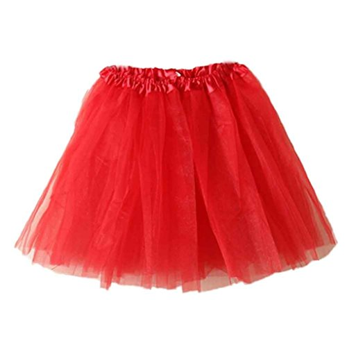 Zolimx gonna, gonna donna, donne balletto tutu stratificato organza pizzo mini gonna (rosso)
