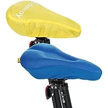 BEEWAY® Fundas Para Sillín de bicicleta, más cómodo suave cojín de gel para asiento de bicicleta con cubierta de lluvia (polvo impermeable) para interior Ciclismo para bicicleta de montaña y exterior Spinning etc., azul
