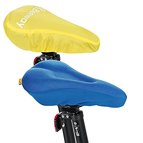 Beeway® Bike Saddle Covers, Most Comfortable Soft Gel Cushion with Bicycle Seat Rain Cover (Waterproof Dust-proof) for Outdoor Cycling Mountain Bike and Indoor Spinning etc