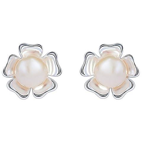 SILVERAGE Freshwater Cultured Pearl White Flower Earrings Sterling Silver Women Stud Earrings