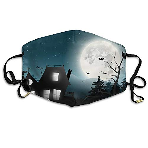 HUSDFS Mouth Masks Halloween Haunted House Silhouette Unisex Facemask Ear-loop Dust Mask Riding Breathable Mask