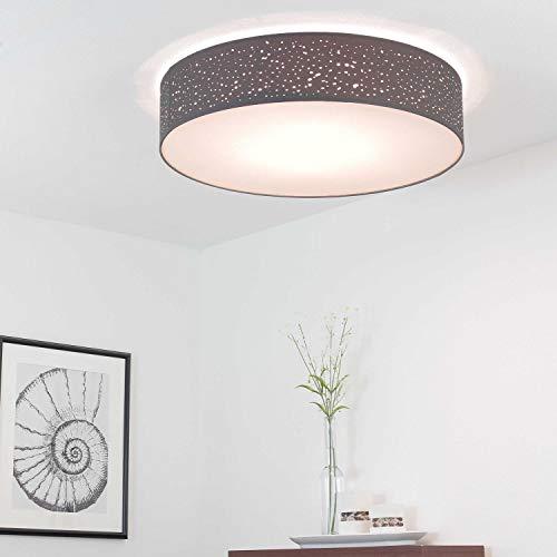 Graue Deckenleuchte rund Ø60cm Modern Stoff dezent 4-flammig KAREN Schlafzimmer Wohnzimmer Deckenlampe - Runde 4 Licht