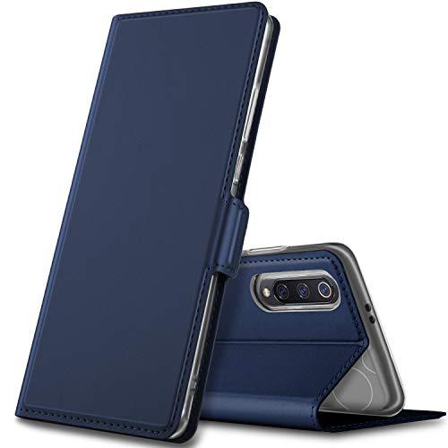 GEEMAI Diseño para xiaomi Mi 9 Funda, Protectora PU Funda Multi-ángulo a Prueba de Golpes y Polvo a Prueba de Silicona con Soporte Plegable Apto para xiaomi Mi 9 Smartphone. (Azul)