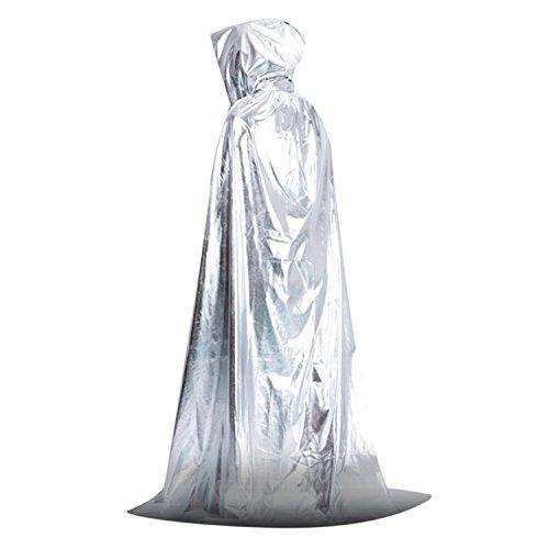 Damen Herren Umhang Kostüm Cape mit Kapuze für Halloween (Cape Silber)