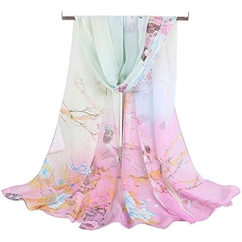 Transer® Sciarpa Donna Scialle Sciarpe di Seta Velo Stola Cerimonia Elegante Chiffon per Tenerti al Caldo 160cm 50cm Stole Fiori Multicolore Regalo