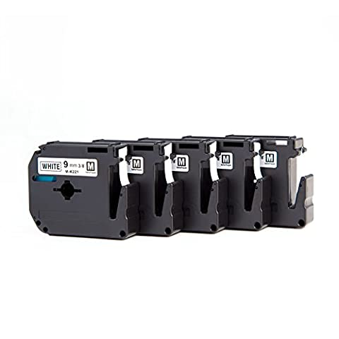 5 Roll Replacement Brother M K221 BZ Label Tape M-K221 Cassette 9mm 8m Black on White for P-Touch PT-55 PT-60 PT-65 PT-75 PT-80 PT-85 PT-90 PT-110 BB4 Mintech Label Printer