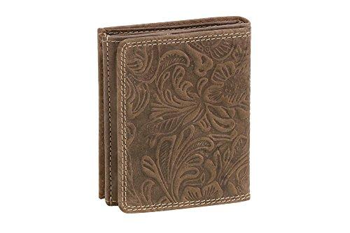 LEAS Wiener-Schachtel mit Blumen-Print im Ausweis-Format mit großer Kleingeldschütte im Vintage-Style, Echt-Leder, braun Vintage-Collection