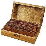 Siegelstempel zum Selbermachen, Stempel, Alphabet, Zahlen, englische Buchstaben, Mehrzweck-Holzdichtung mit Holzbox (70 Stück) (kursiv, kursiv)