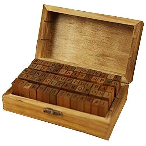 DIY Siegel, 70 Stück, englische Buchstaben, Siegel, Handwerkssymbol, Alphabet, Zahlen, Mehrzweck-Holzdichtung mit Holzbox cursive Cursive