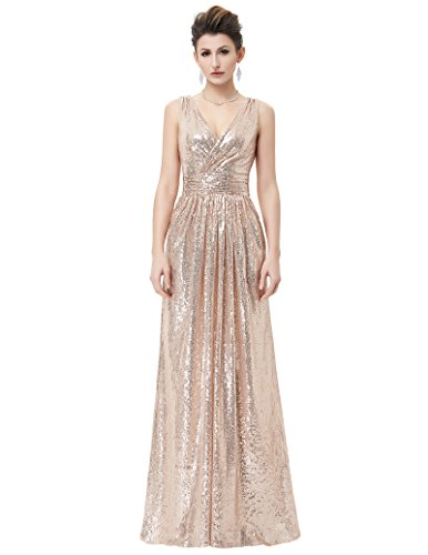 Kate Kasin Damen Formell Paillete Brautjungfernkleid Partykleid Rose Gold Größe 34 KK199-2