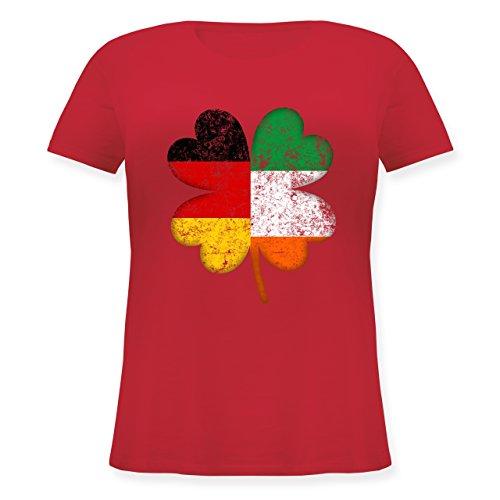 Kostüm Beliebte Marken - St. Patricks Day - Deutschland Irland Kleeblatt - L (48) - Rot - JHK601 - Lockeres Damen-Shirt in großen Größen mit Rundhalsausschnitt