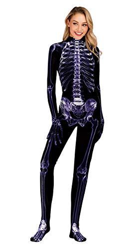 URVIP Unisex Halloween Unheimlich Gespenstisch Bodycon Party Cosplay Kostüm Overalls WB141-010 L (Online Spiele Halloween Lustige Für)
