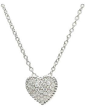Eye Candy Damen-Halskette Collier 925 Sterling Silber rhodiniert Herz-Anhänger mit 38 weißen Zirkonia Steinen...