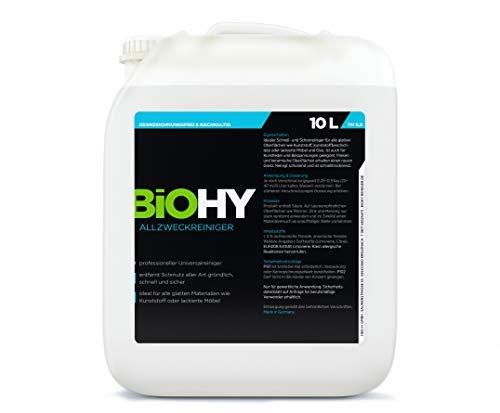 BIOHY Allzweckreiniger 10 Liter Kanister BIO-Konzentrat Allesreiniger/Universalreiniger, Profi Haushalts-Reiniger, Reinigungsmittel kennzeichnungsfrei, nachhaltig und wirtschaftlich
