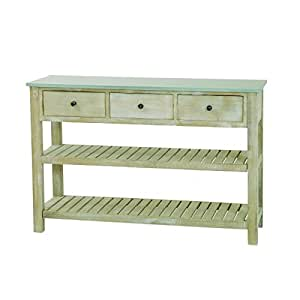 Console 2 étagères 3 tiroirs en paulownia, 120 x 40 x 80 cm -PEGANE-