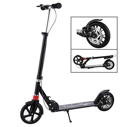 fiugsed Erwachsene/Kinde City Roller Scooter, Leicht Scooter T-Style Stabile Aus Aluminiumlegierung, Klapproller mit Scheibenbremse und 200mm großen Rädern (Schwarz mit Scheibenbremse)