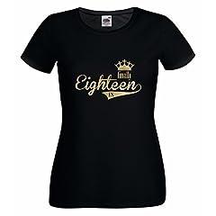"""Idea Regalo - Maglietta da ragazza, con stampa """"Finally EIGHTEEN 18"""", ideale per il compleanno nero/oro m"""