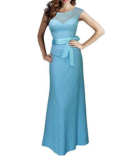 Damen Elegant Cocktailkleid Rückenfrei Brautjungfer Spitzen Kleid Fishtail Langes Abendkleid Licht Blau