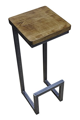 Barhocker stahl holz massiv c style barstuhl industrial for Barhocker industrial look