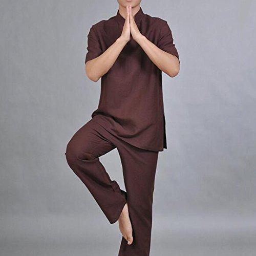 Heart&M Tang Anzug Kragen Leinen China wind Yoga Kleidung Anzüge Meditation Übung Fitness Männer , red dates , xl