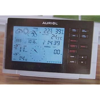 auriol station m t o horloge murale radio pilot e affichage lcd mesure du vent et de la pluie 3. Black Bedroom Furniture Sets. Home Design Ideas