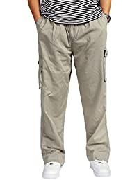 d60a334aa4a Lvguang Pantalons Cargo Hommes Multipoches Taille Elastique Coupe Large  Style Casual Outdoor Pantalon Droit