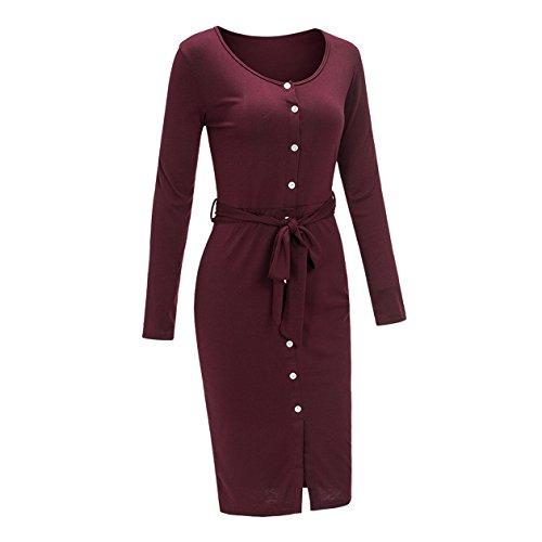 Frauen-Art Und Weise Partykleider Beiläufiges Long sleeved Blusenkleider Einfarbig Dress Mit Schlitz Druckknopfverschluss Lange Kleider Rot