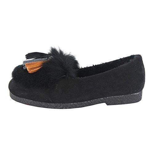 maxu fille PU chaussure Mary Jane gland décoratif sur plat antidérapant Noir