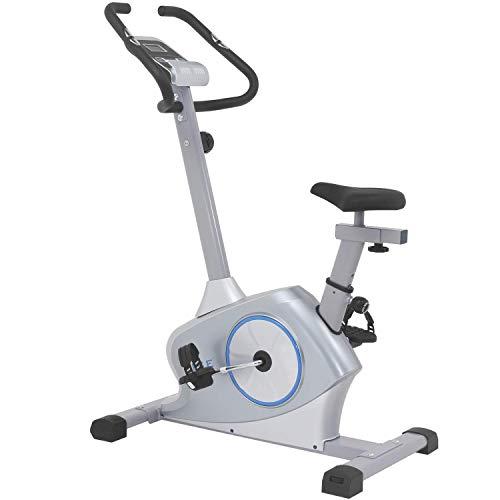 ISE Ergometer Heimtrainer Fahrradergometer mit Magnetbremssystem,Traingscomputer&Tablethalterung-12KG Schwungmasse,mit Motorsteuerung,Pulssensoren SY-8608 (Fahrrad Training)