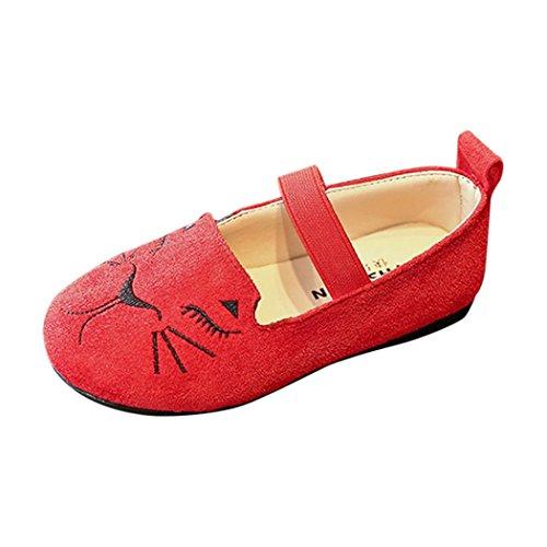 Mode Prinzessin Schuhe Kleinkind Kinder, DoraMe Baby Jungen Mädchen Katze Kopf Einzelne Schuhe Nubukleder Tanzschuhe für 3.5-6.5 Jahr (4-4.5 Jahr/Size(CN):27, Rot) Jungen-stiefel, Kleinkind, 7