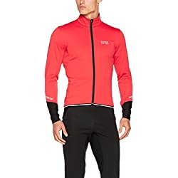 Gore Bike Wear, Chaqueta de Ciclismo en Carretera, Hombre, Windstopper Soft Shell, Power 2.0 Jacket, Talla S, Rojo/Negro, JWPOSO