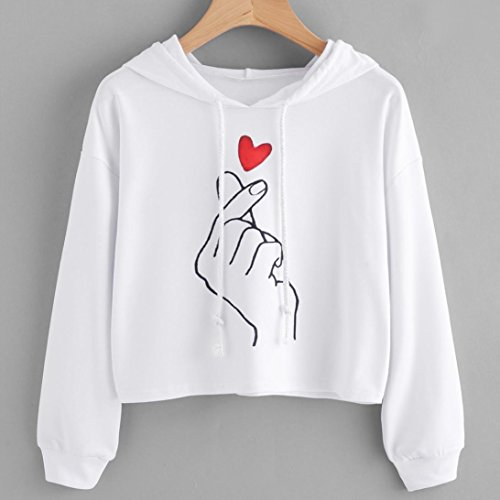 AmazingDays Chemisiers T-Shirts Tops Sweats Blouses,Femme Amour Geste Imprimer Sweat Sweat Pull Pullover Pulls white