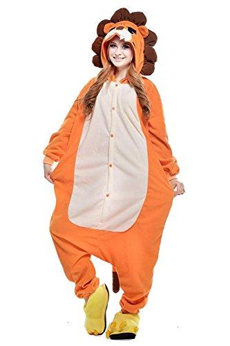 URVIP Erwachsene Unisex Jumpsuit Tier Cartoon Fasching Halloween Pyjama Kostüm Onesie Fleece-Overall Schlafanzug Löwe ()