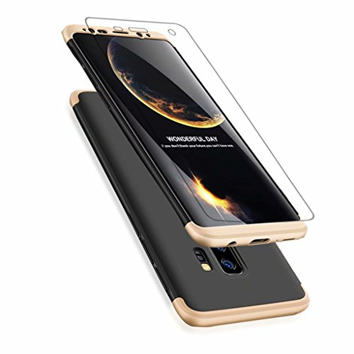 JINICHANGWU Samsung Galaxy A6Plus/A6+ Hülle + Panzerglas, Schale PC Full-Cover Anti-Kratzer Handyhülle Schutzhülle Case für Samsung Galaxy A6Plus/A6+ (2018) (Gold/Schwarz) -