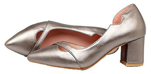 VogueZone009 Femme PU Cuir à Talon Correct Couleur Unie Tire Chaussures Légeres Argent