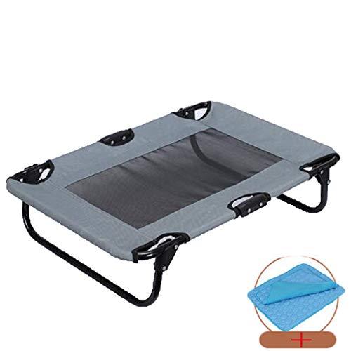 Danm Erhöhte Hundebett mit Ice Silk Pad und Teslin Net für Wärmeableitung, faltbar für einfaches Tragen, wasserdicht und feuchtigkeitsbeständig, große und mittlere Hunde Outdoor Camping Bett