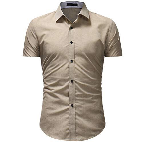 ZHANSANFM Hemd Herren Stehkragen Shirt Reine Farbe Button Down Hemden Mode Elastisch Slim Fit Sommerhemd für Männer Business Hochzeit Büro Freizeit Kurzarmhemd Elegant (2XL, Khaki)