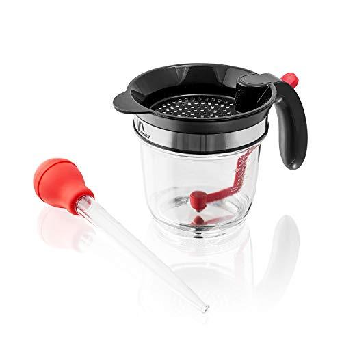 Amazy Fetttrennkanne inkl. Bratenspritze – Fettkanne aus Kunststoff mit integriertem Sieb und Messskala für das Abschöpfen von Fett aus Soßen und Suppen (1 Liter)