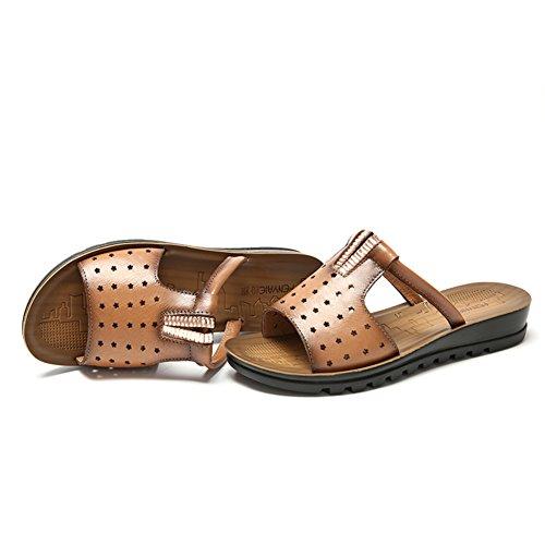 Antiscivolo inferiore molle sandali di cuoio femminili/ sandali estate all'aperto/ Piatto con sandali piatti C