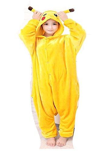 en Herren Damen Pikachu Pokemon Onesie Loungewear Kostüm Kostüm Outfit Cosplay Rollenspiel unisex bequem (Kids, Age 4-5) (Pokemon Pikachu Kind Kostüme)